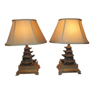 Stacked Turtles Table Lamps - A Pair