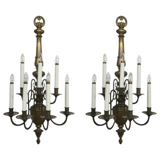Williamsburg Style Brass Electrified Sconces - A Pair
