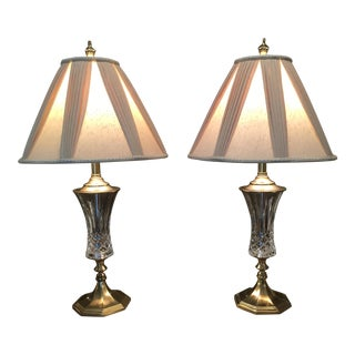 Stiffel Brass & Crystal Lamps - A Pair