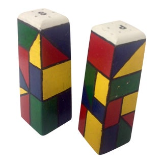 Piet Mondrain Style HardWood Salt & Pepper Shakers