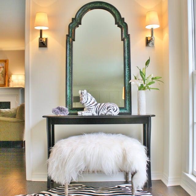 Faux Malachite Lacquered Mirror - Image 4 of 4