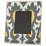 Image of Grey, Yellow, White & Gold Hand-Painted Ikat Frame