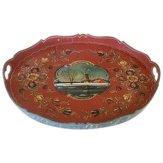 Scalloped Wooden Tole Tray