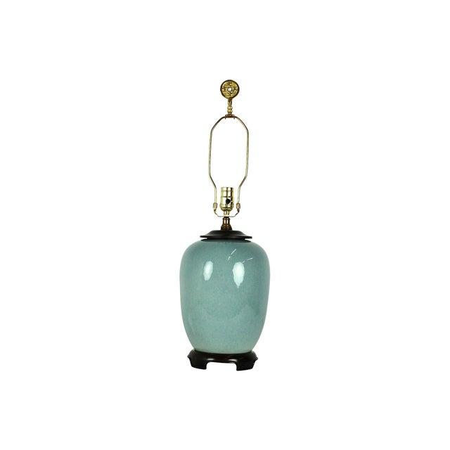 Vintage Blue Ceramic Crackle Lamp - Image 6 of 7