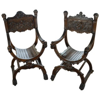 19th Century Carved Walnut Roman Chairs - A Pair