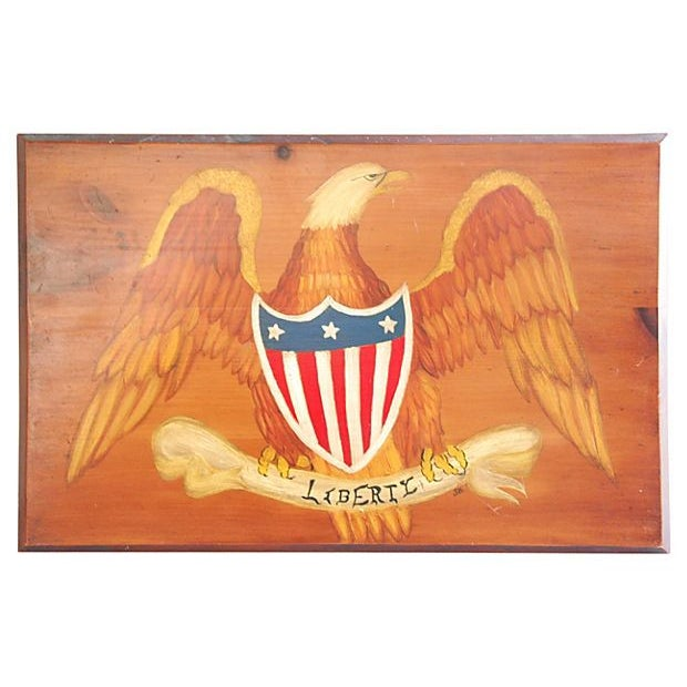 Hand-Painted Wooden Liberty Eagle Plaque - Image 1 of 3
