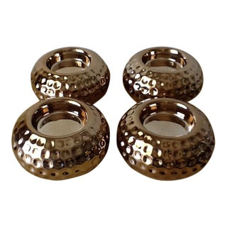 Modern Gold Ceramic Tea Light Votives - Set of 4