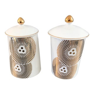 Modern Floral Canisters - A Pair