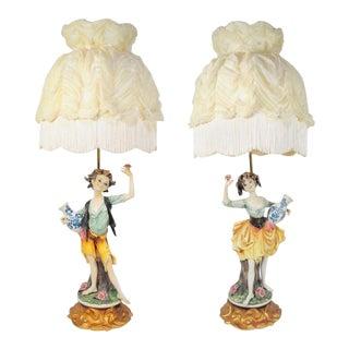 Vintage Italian Hollywood Regency Porcelain Figural Pixie Table Lamps - A Pair