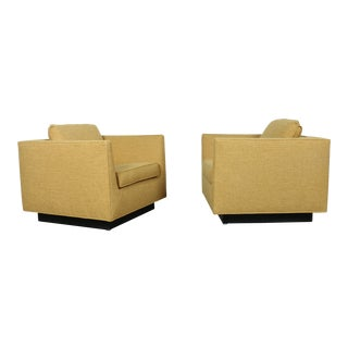 Milo Baughman Style Cube Lounge Chairs - a Pair