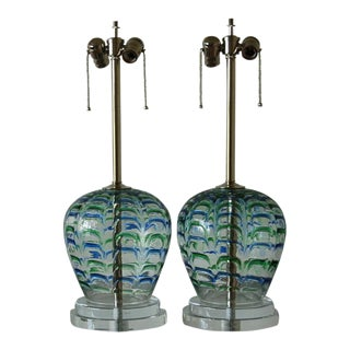 Horseshoe Murano Lamps with Blue & Green