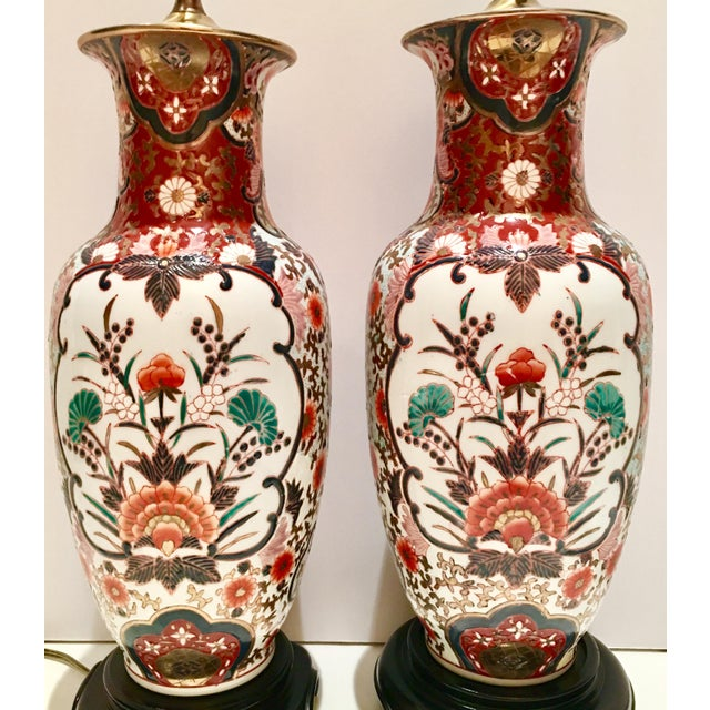 Hand-Painted Porcelain Imari Vase Table Lamps - A Pair - Image 5 of 10