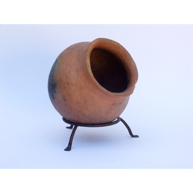 Clay Pot Planter & Metal Stand - Image 2 of 7
