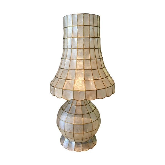 Large Scale Mid Century Capiz Shell Table Lamp - Image 1 of 7