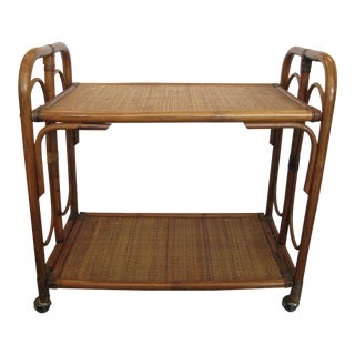 C.1970 Mid-Century Rattan Bar Cart