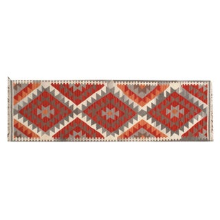 Red 2 x 7 Multicolor Triangle Zig Zag Runner