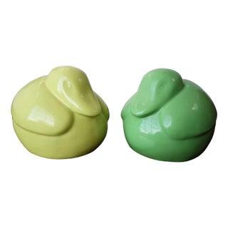 Mid-Century Green & Yellow Duck Figurines - Pair