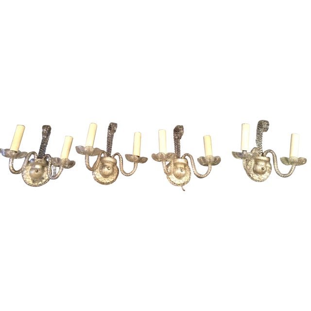 Image of Crystal Armed Wall Sconces - Set of 4