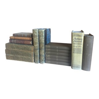 Light Brown Antique Book Collection - Set of 16
