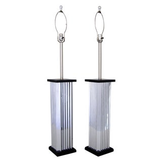 Mid Century Modern Tall Chrome Lamps - Pair