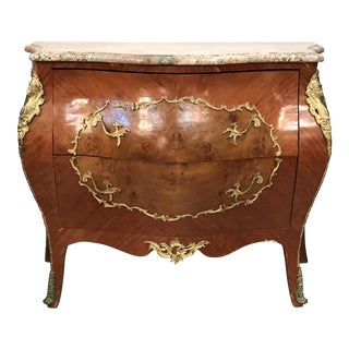 Cathedral Cut Marble Top French Bombe Chest