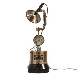 Industrial Table Lamp with LED Lighting and Clock