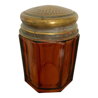 Antique Copper Lidded Amber Vanity Jar