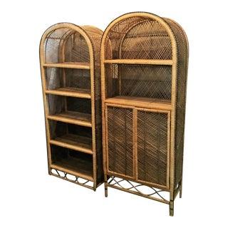 Vintage Woven Bamboo Etageres- a Pair