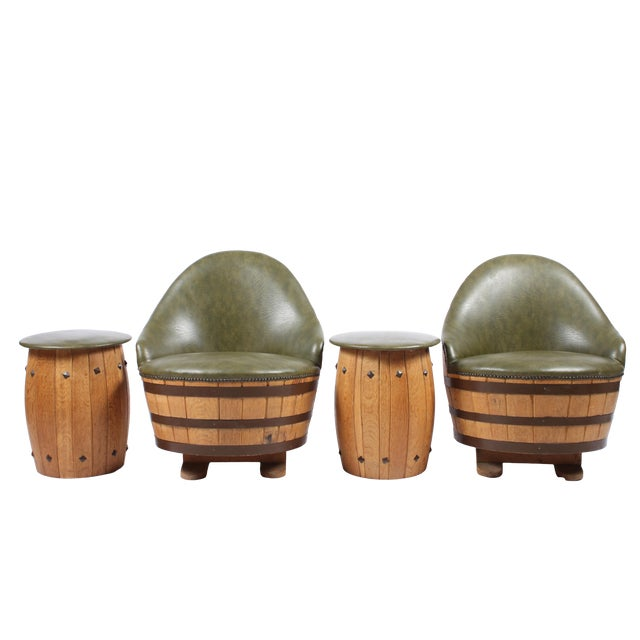 Oak Barrel Seating with Stools - Set of 4 - Image 1 of 7