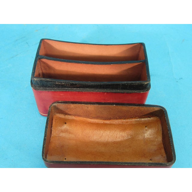 Image of Italian Red Leather Card Box for 2 Decks