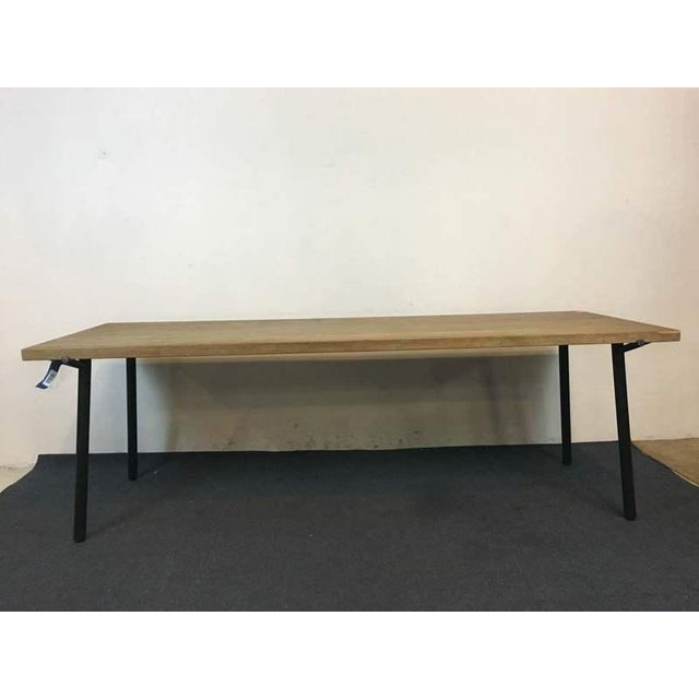 Image of Contemporary Rustic Style Carved Oak & Metal Dining Table