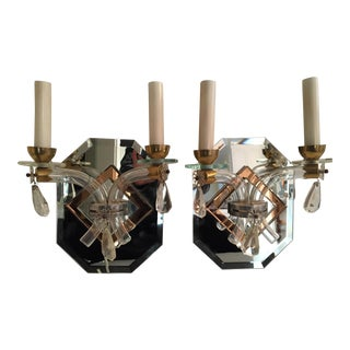 Antique French Mirrored Sconces - Pair