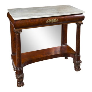 Neoclassical Stenciled Pier Table with Marble Top