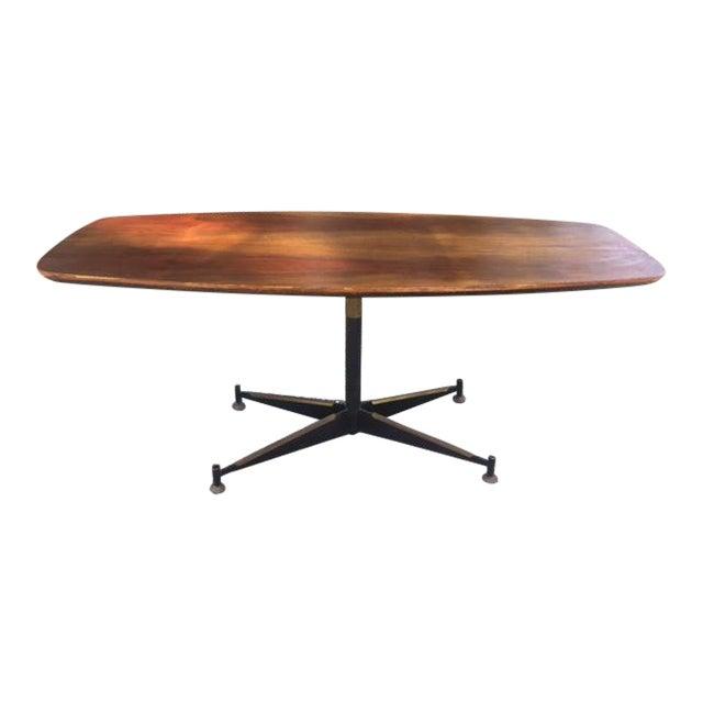 Vintage Mid-Century Modern Steel Based Walnut Coffee Table - Image 1 of 9