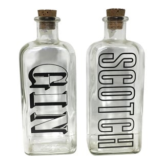 Vintage Typographic Scotch & Gin Decanters - A Pair