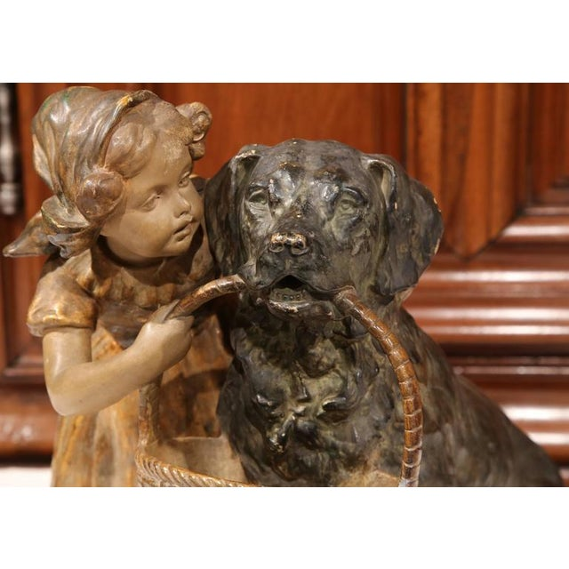 19th Century French Girl & Dog Terracotta Sculpture - Image 3 of 9