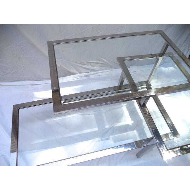 Image of Mid-Century 3-Tiered Chrome Coffee Table