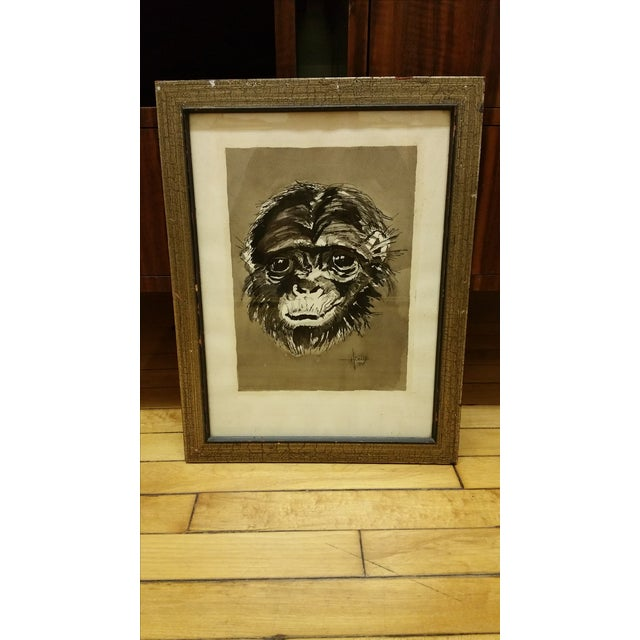 Mid Century Ink & Watercolor Monkey Portrait - Image 2 of 4