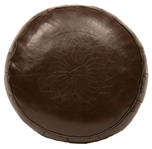 Solid Brown Leather Pouf Stuffed Chairish