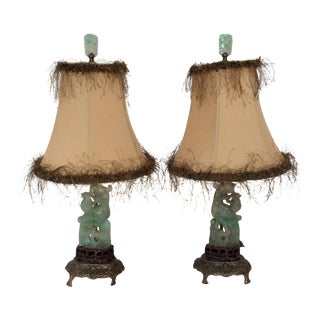 Chinese Green Carved Stone Lamps - A Pair