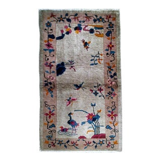 1920s handmade antique Art Deco Chinese rug 2.8' x 4.8'