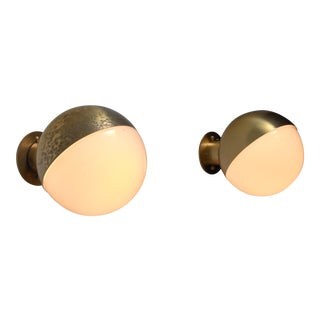 Vilhelm Lauritzen pair of opaline glass and brass wall lamps