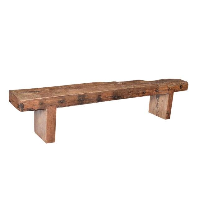 Old Teak Slab Bench - Image 1 of 5