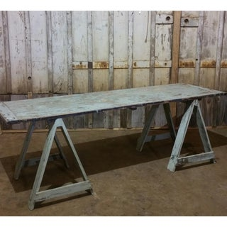Dated 1916 Painted Wood Sawhorse Table