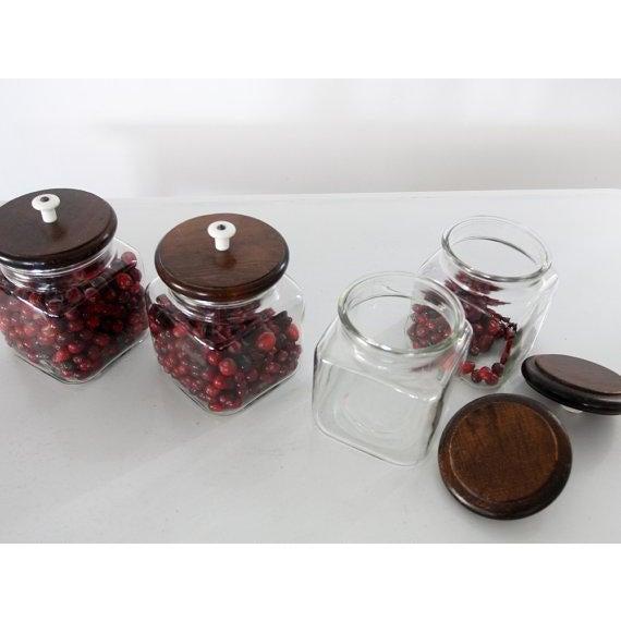 Image of Vintage Glass Jars with Wood Lids - Set of 4