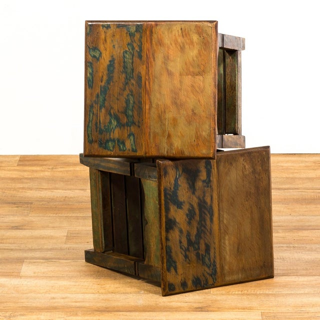 Image of Reclaimed Solid Wood Side Tables - a Pair Moving Sale 50% Off