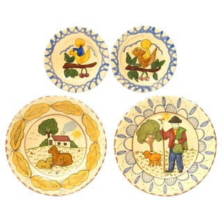 Italian Hand-Painted Terra Cotta Plates - Set of 4