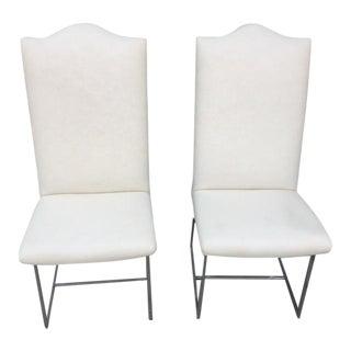 Milo Baughman Style Chrome Chairs - a Pair