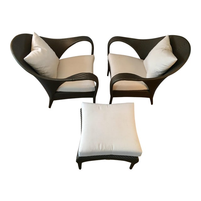 dedon tango lounge armchairs ottoman set of 3 chairish