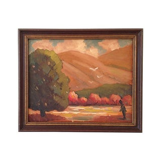 1960s Autumn Fields Oil Painting